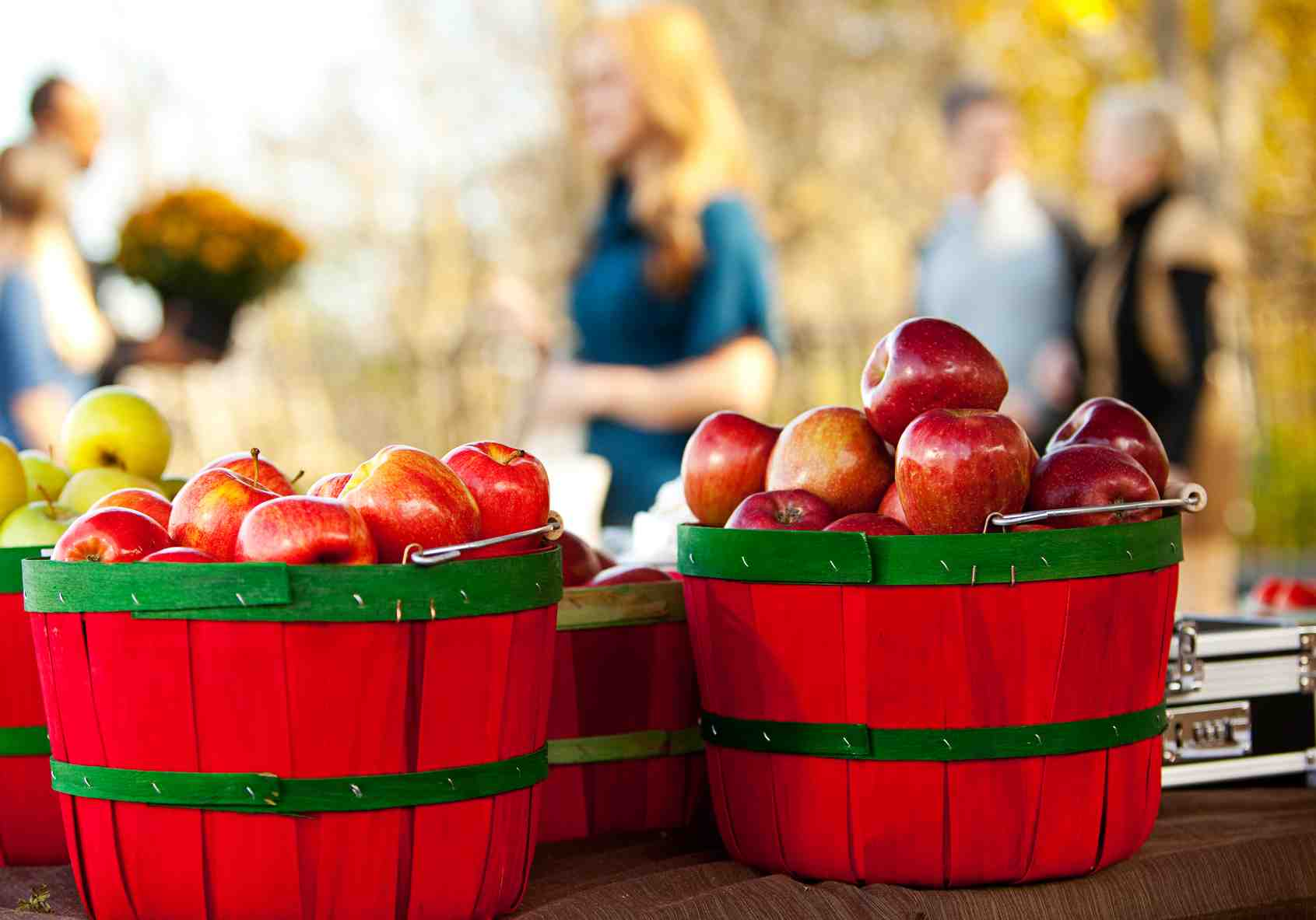 Farmer's Market: Buckets of Apples at Market